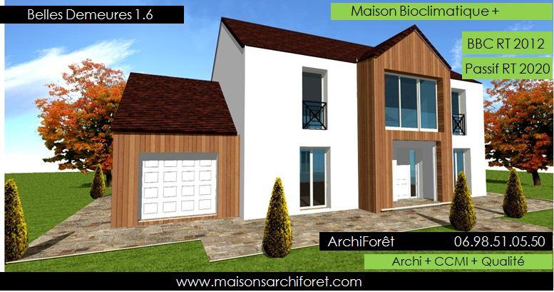 Plan et photo de maison avec etage ossature bois par for Constructeur maison ossature bois 05
