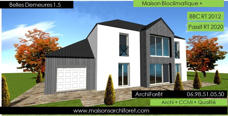 Maison bois toiture zinc 4 pentes ou mansart et mansard par votre architecte constructeur - Construction garage accole maison ...
