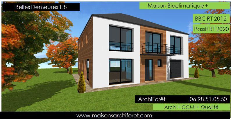 Plan et photo de maison avec etage ossature bois par for Maison container normandie