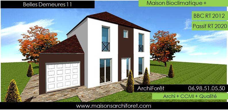 Plan et photo de maison avec etage ossature bois par for Constructeur de maison ossature bois