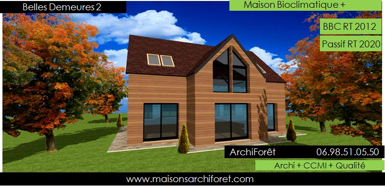 Plan et photo de maison avec etage ossature bois par - Belle maison traditionnelle symmetry architecte ...