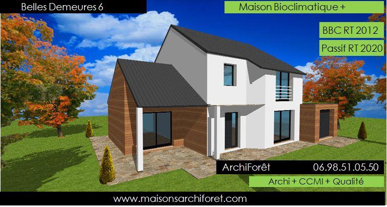 Plan et photo de maison avec etage ossature bois par for Maison ossature bois etage