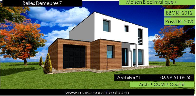 Plan et photo de maison avec etage ossature bois par for Modele maison toit terrasse