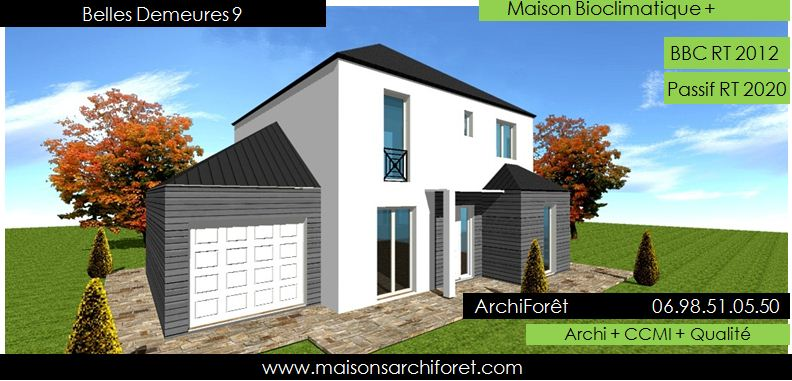 Maison bois toiture zinc 4 pentes ou mansart et for Maison toit 4 pans