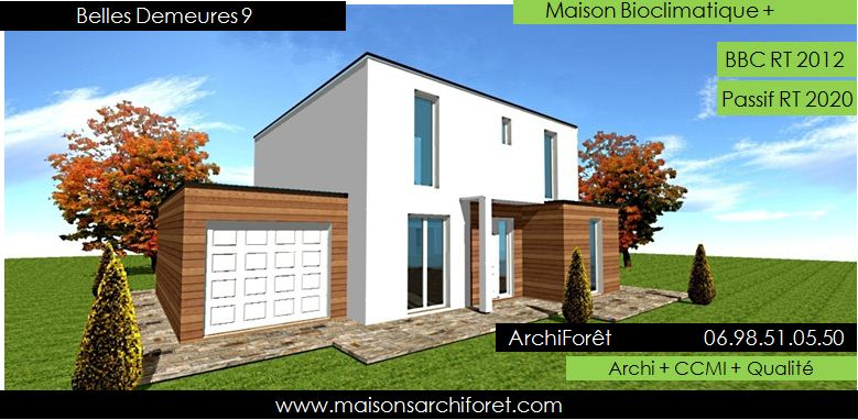 Plan et photo de maison avec etage ossature bois par for Plan maison simple