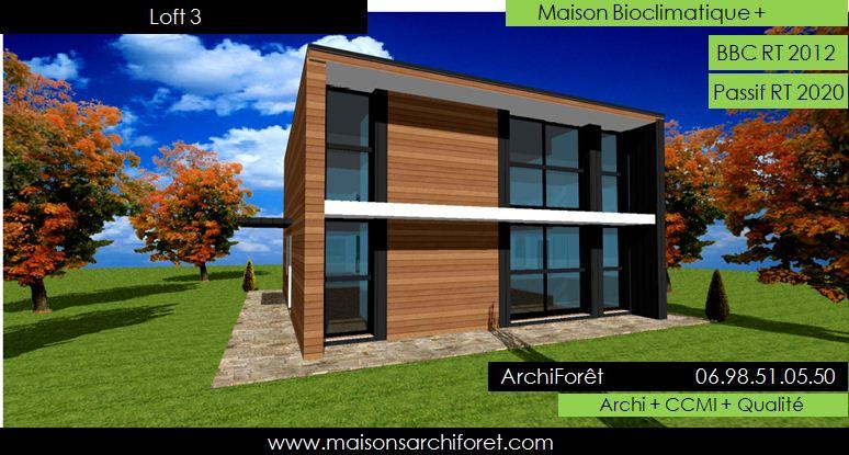 Plan et photo de maison avec etage ossature bois par for Constructeur de maison en kit