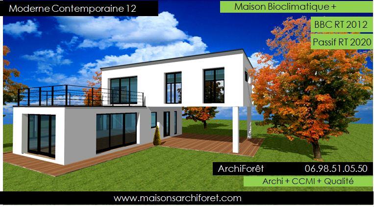 Plan et photo de maison avec etage ossature bois par for Constructeur de maison en bois en haute normandie
