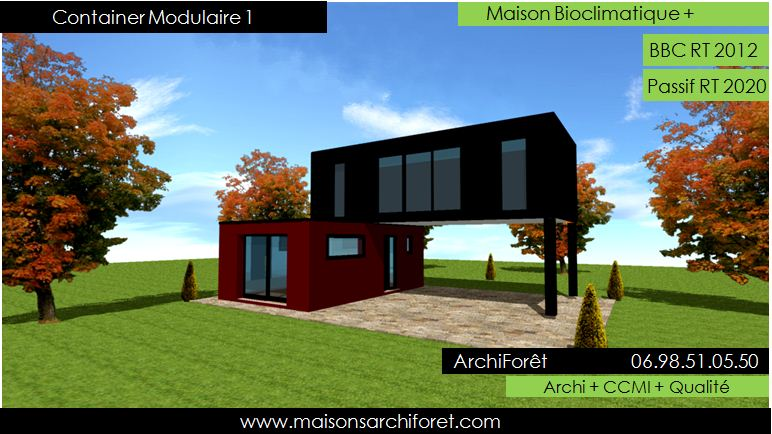 maison container modulaire ossature bois d architecte constructeur plan et construction. Black Bedroom Furniture Sets. Home Design Ideas