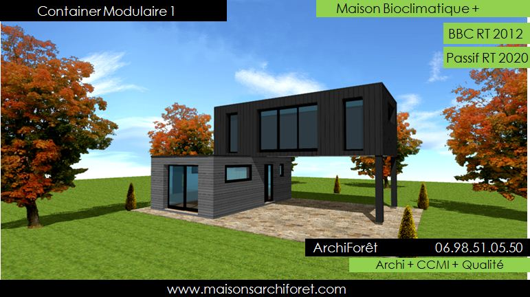maison container modulaire ossature bois d architecte. Black Bedroom Furniture Sets. Home Design Ideas