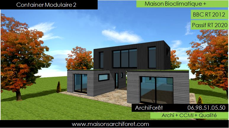 Maison container modulaire ossature bois d architecte constructeur plan et construction for Photo maison contemporaine container