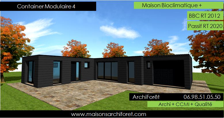 Plan et photo maison plain pied en l ou plein pied en rez for Construction maison avec container