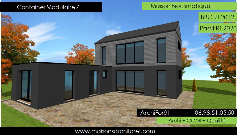 Maison container modulaire ossature bois d architecte for Container maison legislation