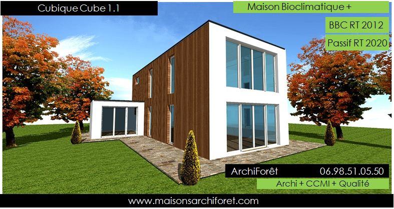 Cubique cube maison d architecte cubique plan bardage bois for Modele de toiture pour maison