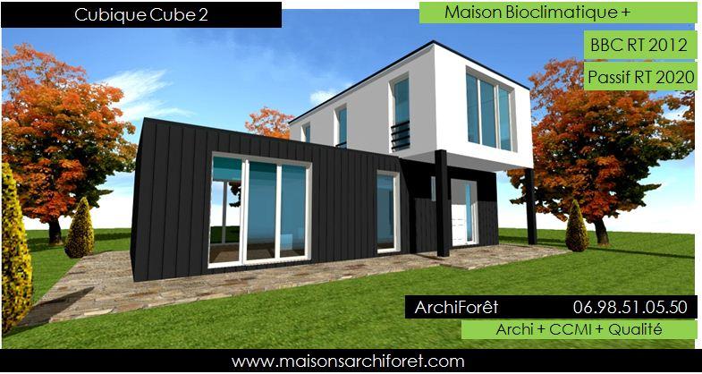Maison cubique cube ou carree en ossature bois par votre architecte ...