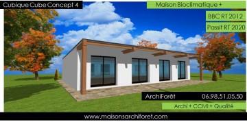 Maison cubique cube ou carree en ossature bois par votre for Constructeur maison acier
