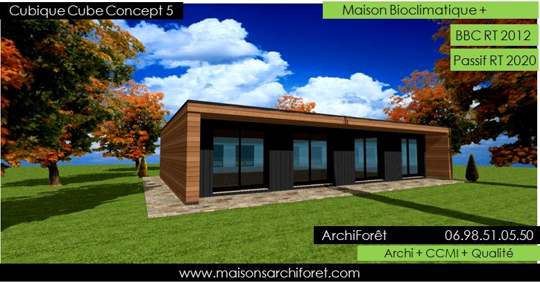 Maison cubique cube ou carree en ossature bois par votre for Plans d architecture maison