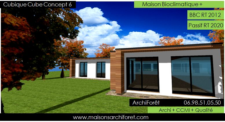 Plan et photo maison plain pied en l ou plein pied en rez for Maison cubique plan