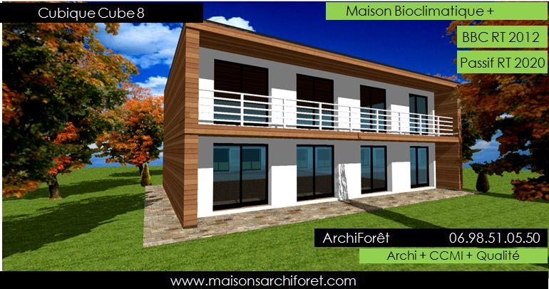 Maison cubique cube ou carree en ossature bois par votre for Construction maison architecte ou constructeur