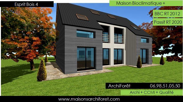esprit bois 4 photo maison construction ossature bois bardage pre peint gris