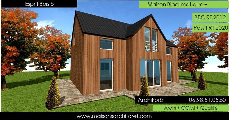 Esprit bois maison ossature bois demi ronde constructeur for Modele maison toit 4 pentes