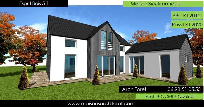 Maison bois toiture zinc 4 pentes ou mansart et for Maison en bois en l