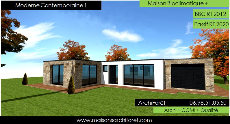 moderne contemporaine 1 maison contemporaine ossature bois plain pied toiture terrasse parement pierre - Plan De Maison Contemporaine De Plain Pied Gratuit
