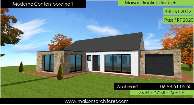 Plan et photo maison plain pied en l ou plein pied en rez for Plan de maison constructeur