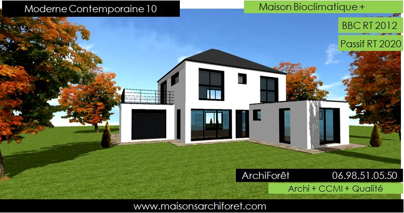 plan maison contemporaine toit 4 pans