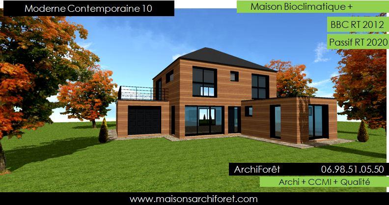 Maison contemporaine moderne et design d architecte constructeur ossature bois plan photo et for Maison contemporaine bois