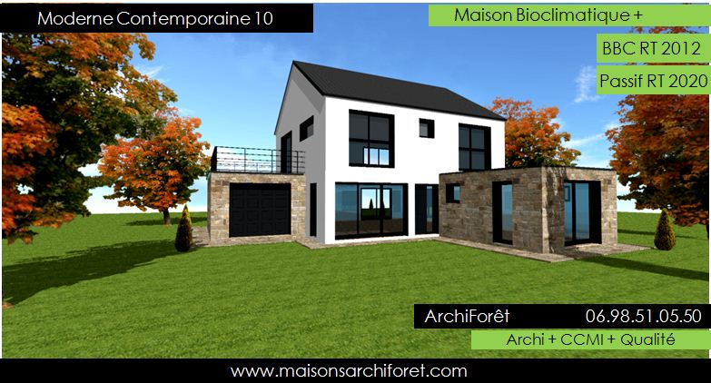 Maison contemporaine moderne et design d architecte constructeur ossature bois plan photo et for Maison design moderne
