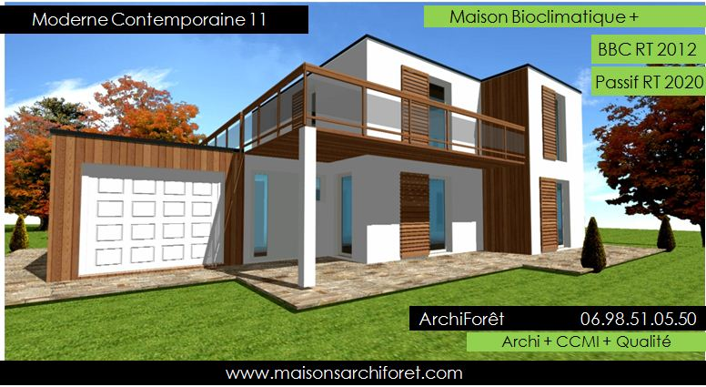 Plan et photo de maison avec etage ossature bois par architecte constructeur www for Photo maison contemporaine container