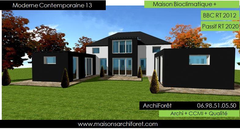 Maison bois toiture zinc 4 pentes ou mansart et for Plan de maison moderne d architecte gratuit