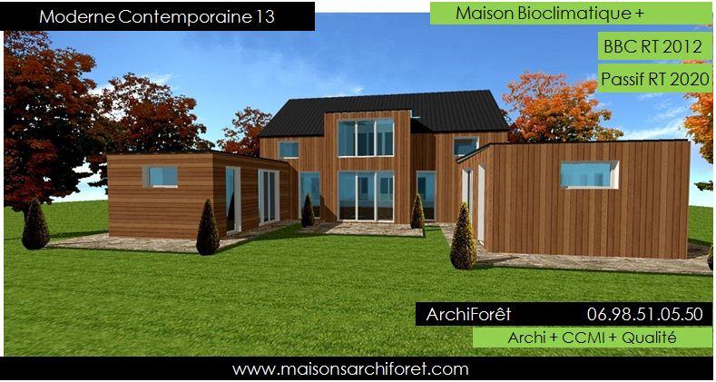 Plan et photo de maison avec etage ossature bois par architecte constructeur www for Maison contemporaine bois