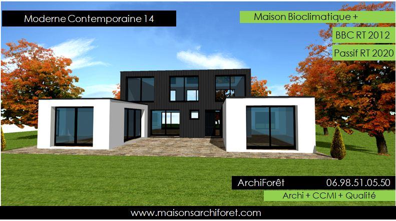 Plan et photo de maison avec etage ossature bois par for Plan maison design moderne