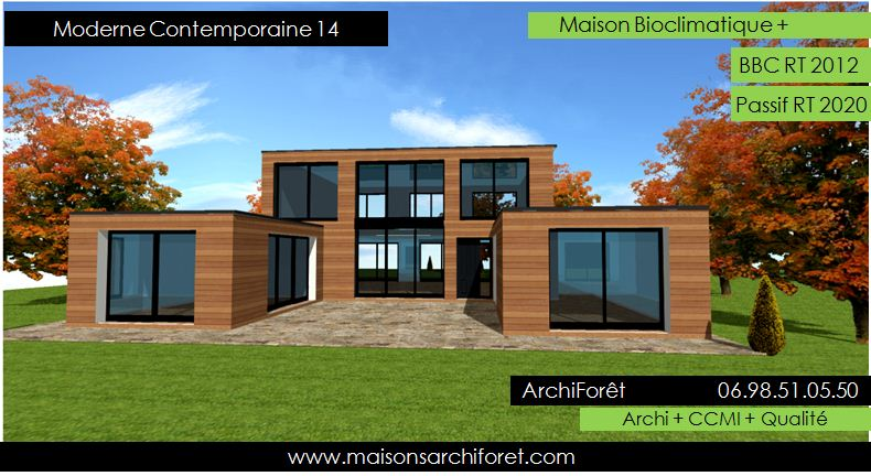 Maison contemporaine moderne et design d architecte constructeur ossature bois plan photo et for Maison bois design