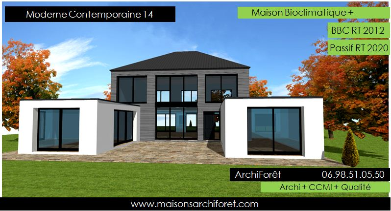 Maison contemporaine moderne et design d architecte for Plan toiture maison