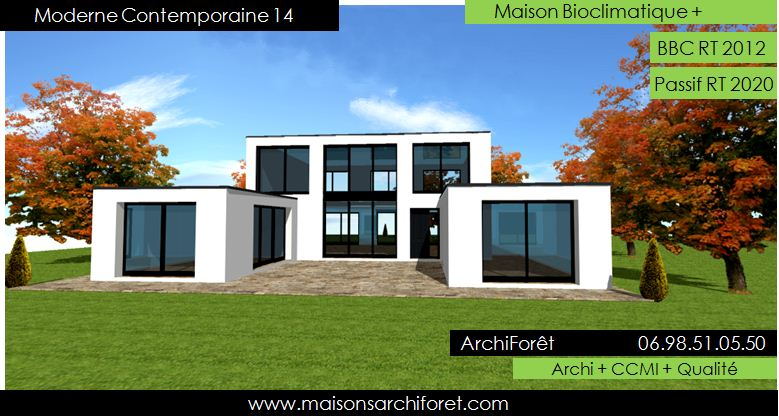 Maison contemporaine moderne et design d architecte for Prix maison rt 2012 plain pied