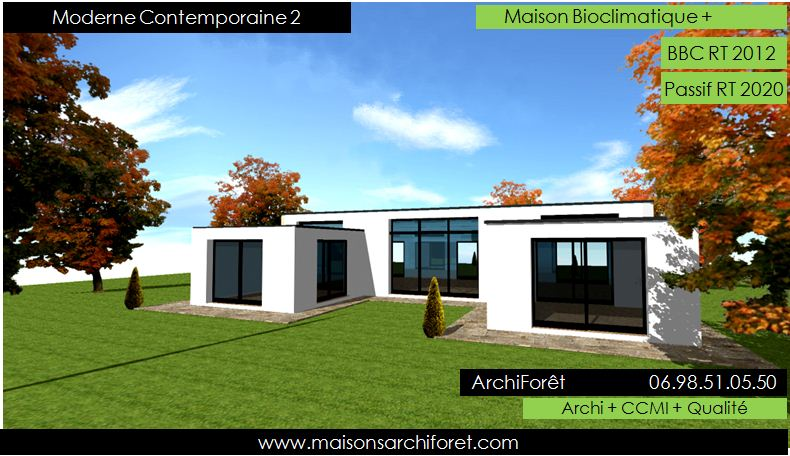 Plan et photo maison plain pied en l ou plein pied en rez for Plan de maison moderne plain pied