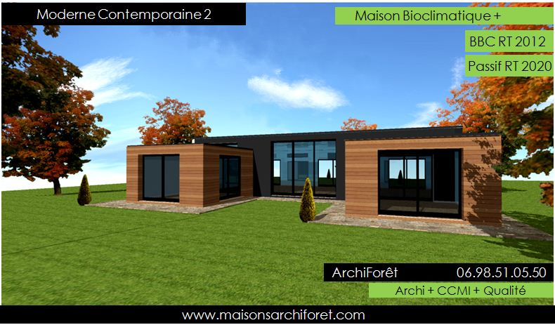 Maison contemporaine moderne et design d architecte constructeur ossature bois plan photo et - Maison en forme de u ...