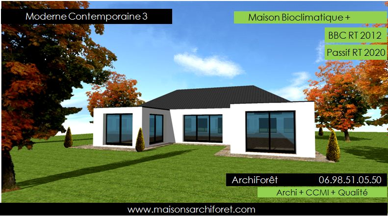 Immobilier maison plein pied en u for Plan maison contemporaine en u