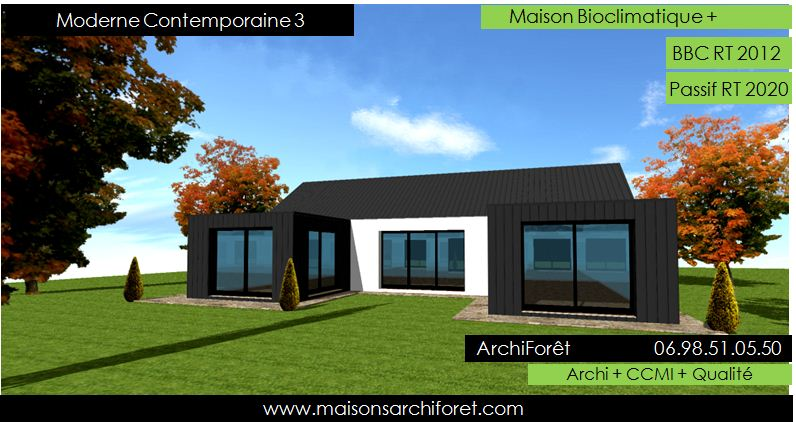 Plan et photo maison plain pied en l ou plein pied en rez for Toiture maison moderne