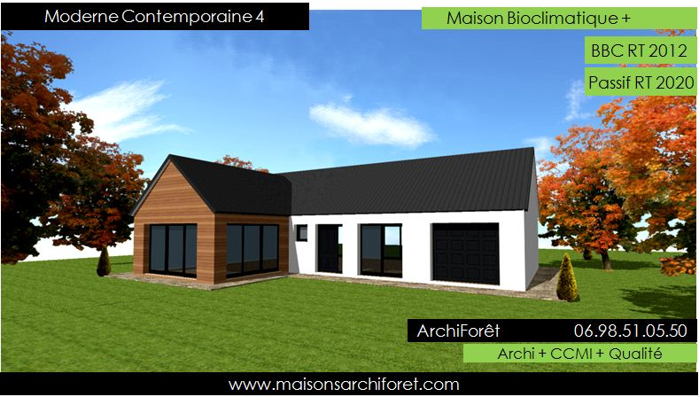 Plan et photo maison plain pied en l ou plein pied en rez for Photo maison en l