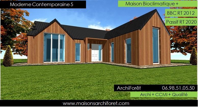 Maison contemporaine moderne et design d architecte constructeur ossature bois plan photo et - Plan de maison contemporaine plain pied ...