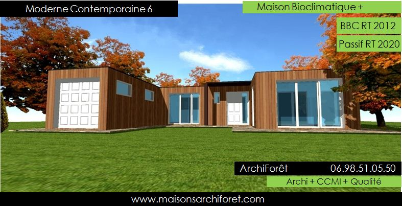 Plan et photo maison plain pied en l ou plein pied en rez for Plan maison contemporaine en u