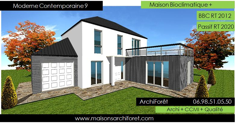Plan et photo de maison avec etage ossature bois par for Plans maisons contemporaines modernes