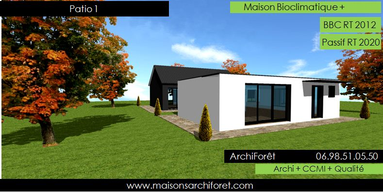 Plan et photo maison plain pied en l ou plein pied en rez for Agrandissement maison besoin architecte