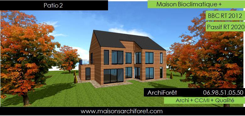 plan et photo de maison avec etage ossature bois par architecte constructeur www. Black Bedroom Furniture Sets. Home Design Ideas