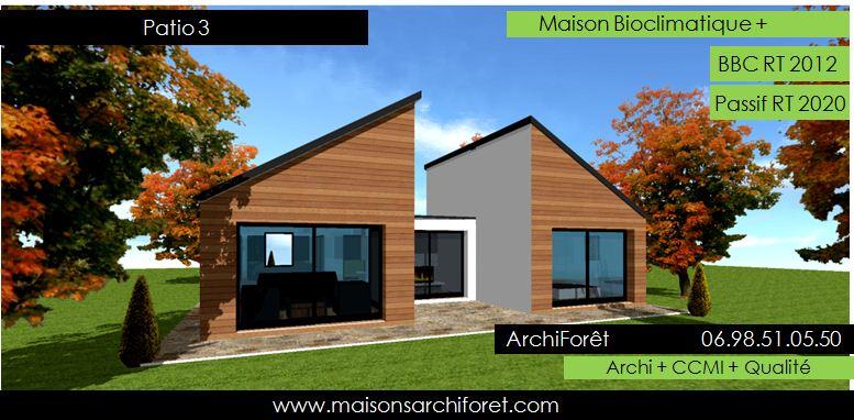Patios maison avec patio par architecte constructeur ossature bois du plan de permis de - Maison avec toit une pente ...