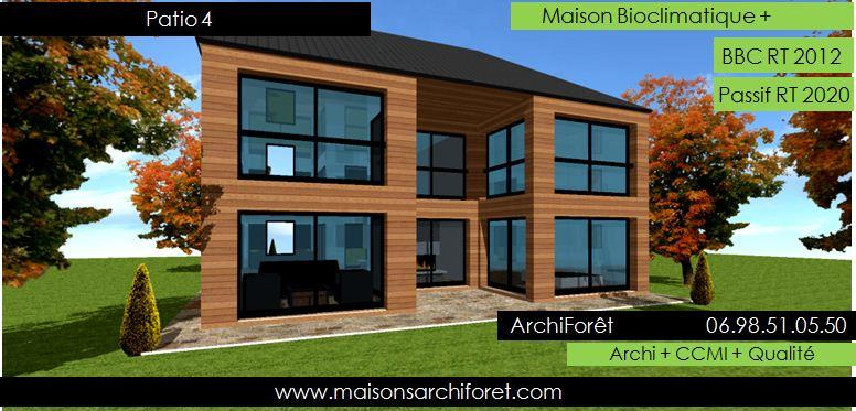 patios maison avec patio par architecte constructeur ossature bois du plan de permis de. Black Bedroom Furniture Sets. Home Design Ideas