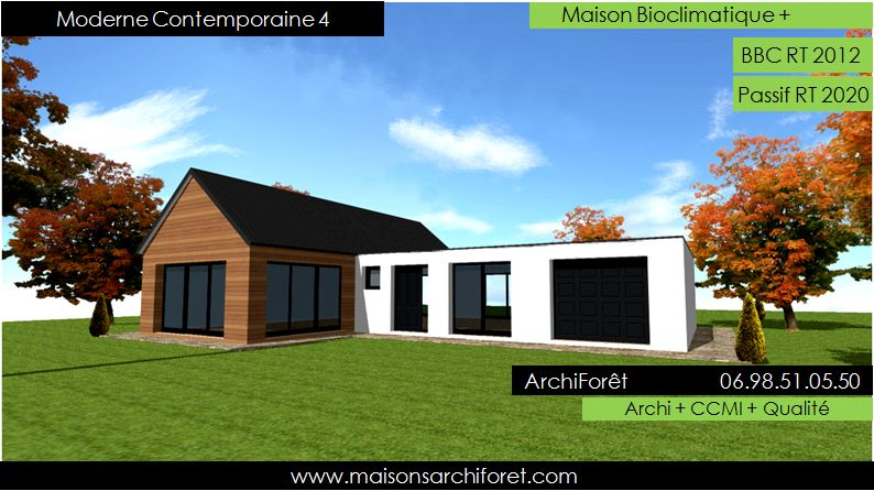 Plan et photo maison plain pied en l ou plein pied en rez for Plan maison architecte plain pied